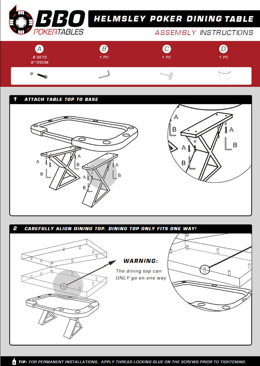 The Helmsley Poker Table with dealer cutout Instructions - BBO Poker tables