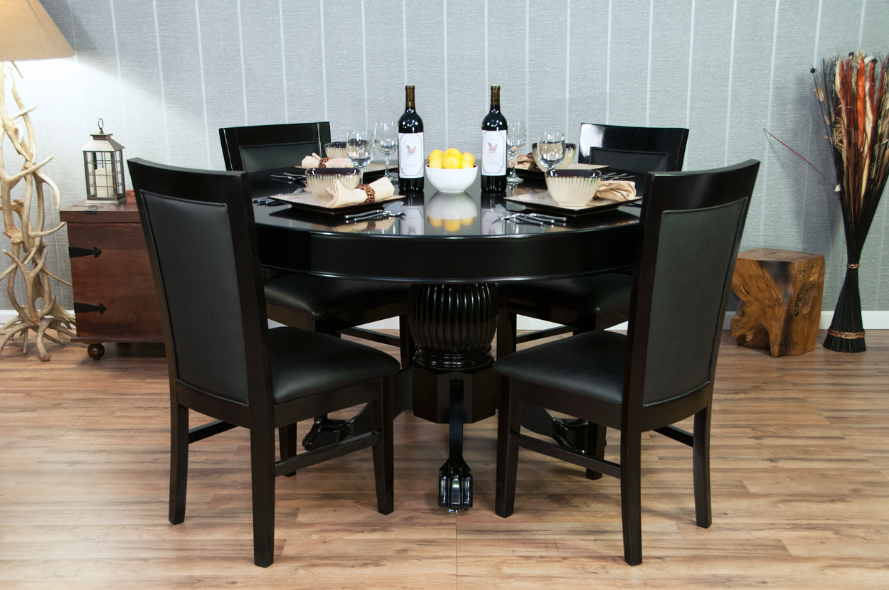 Classic Poker Table Chairs - Black Gloss  (0)