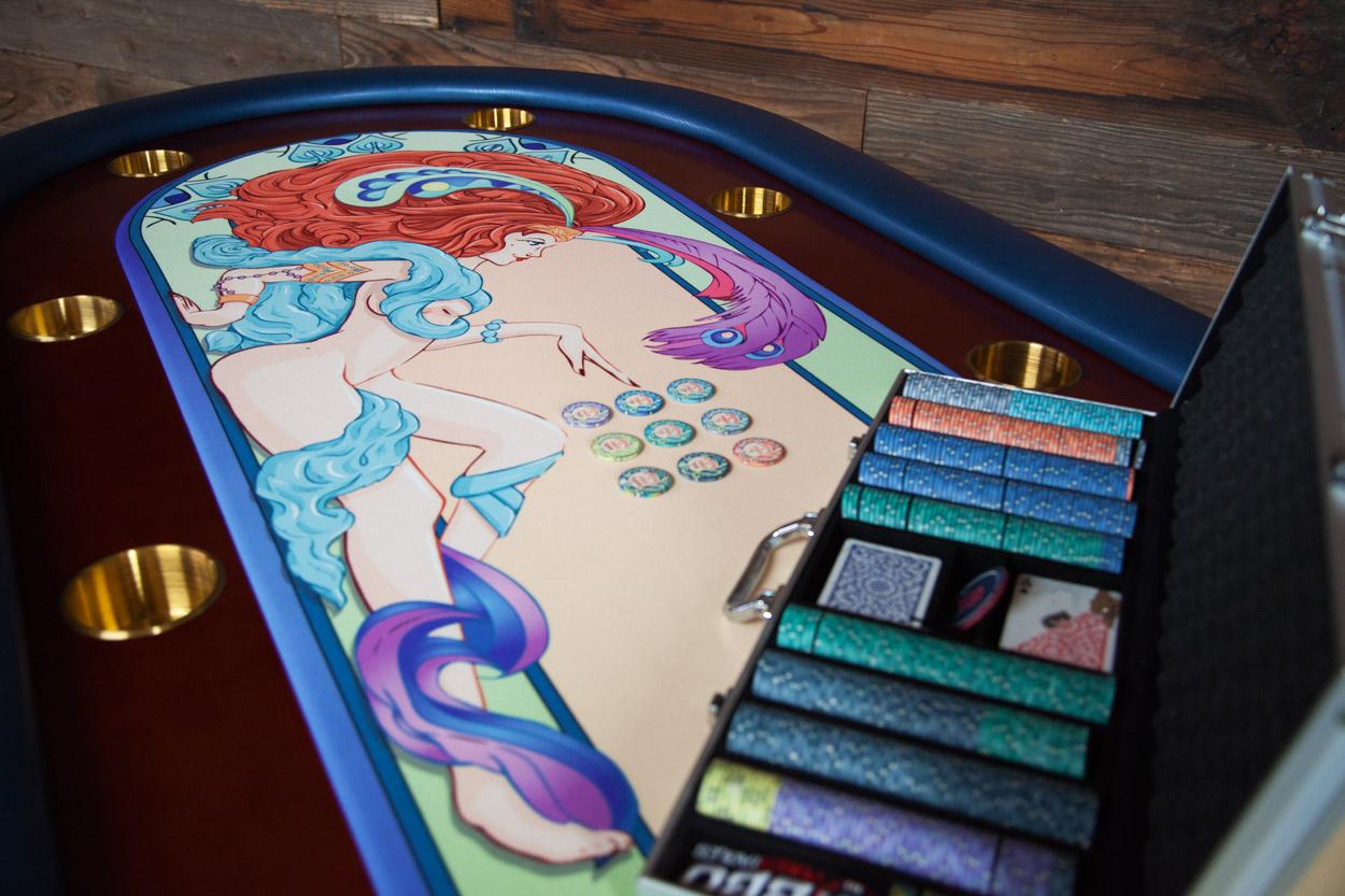 """Casino De Paris"" iShowroom Custom Rockwell Poker Game Table W/ ""Casino De Paris"" 500 Pc. Deluxe Package (7)"