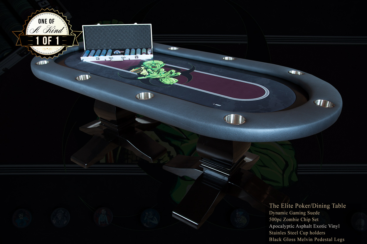 """The Undead"" iShowroom Custom Elite Poker Game Table W/ ""No Brainer"" 500 Pc. Chip Set (1)"