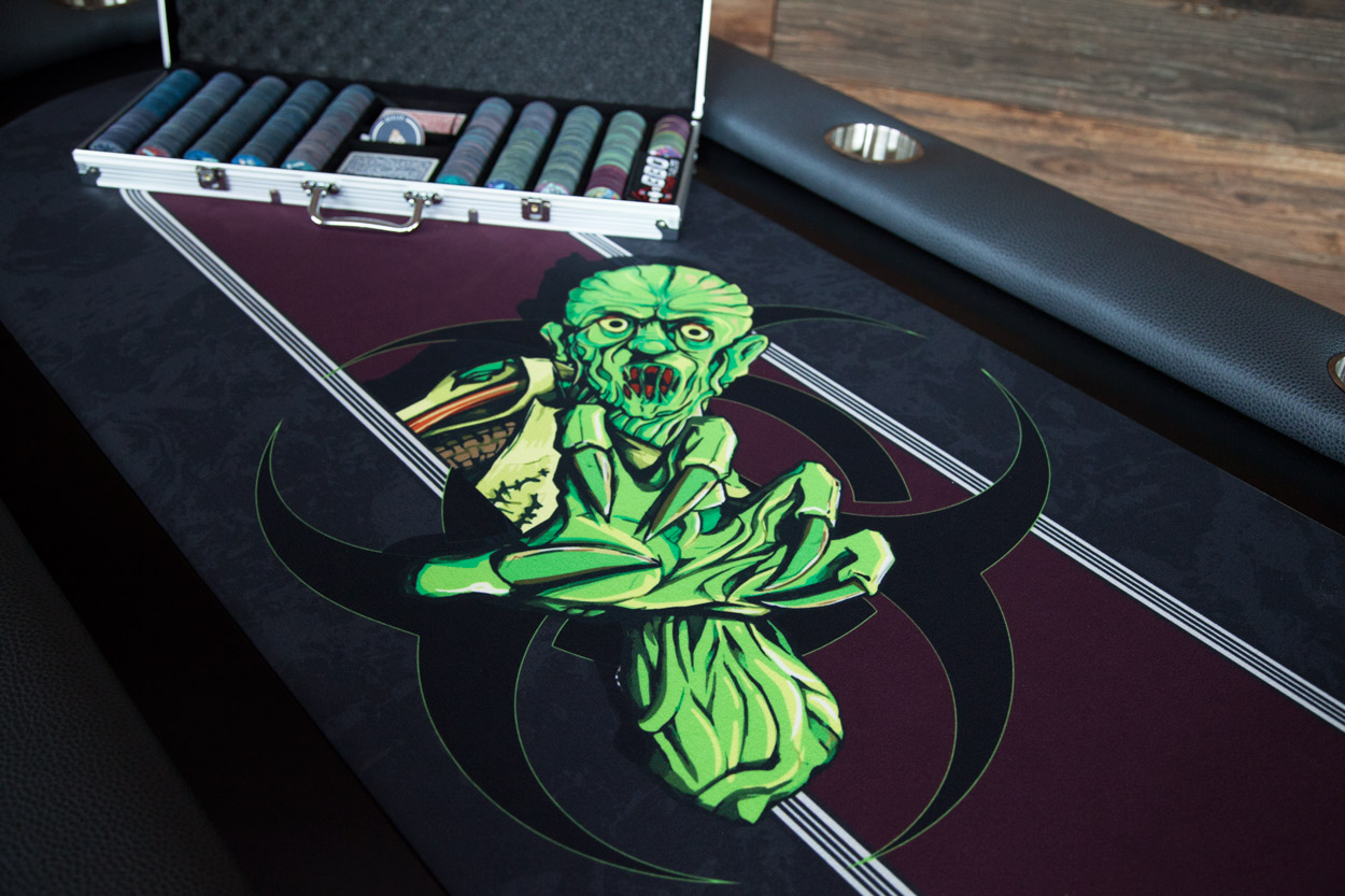 """The Undead"" iShowroom Custom Elite Poker Game Table W/ ""No Brainer"" 500 Pc. Chip Set (5)"