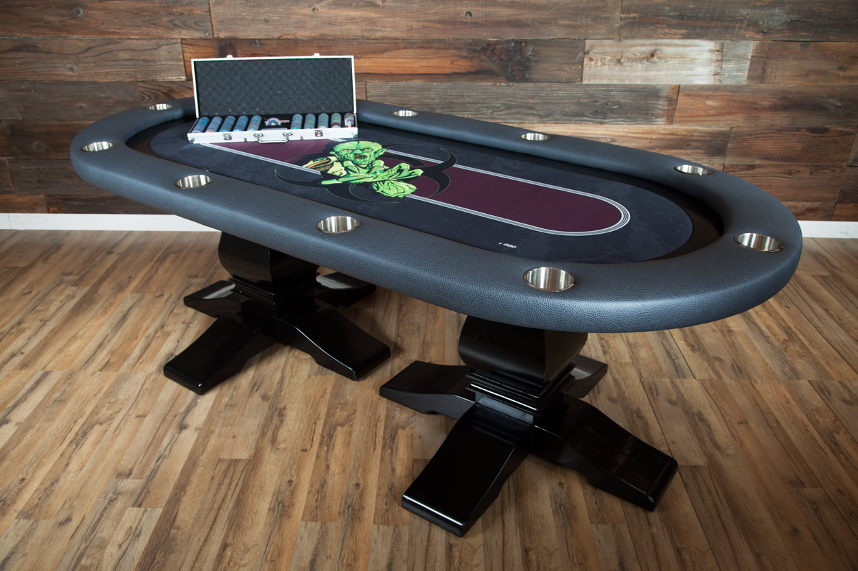 """The Undead"" iShowroom Custom Elite Poker Game Table W/ ""No Brainer"" 500 Pc. Chip Set (3)"