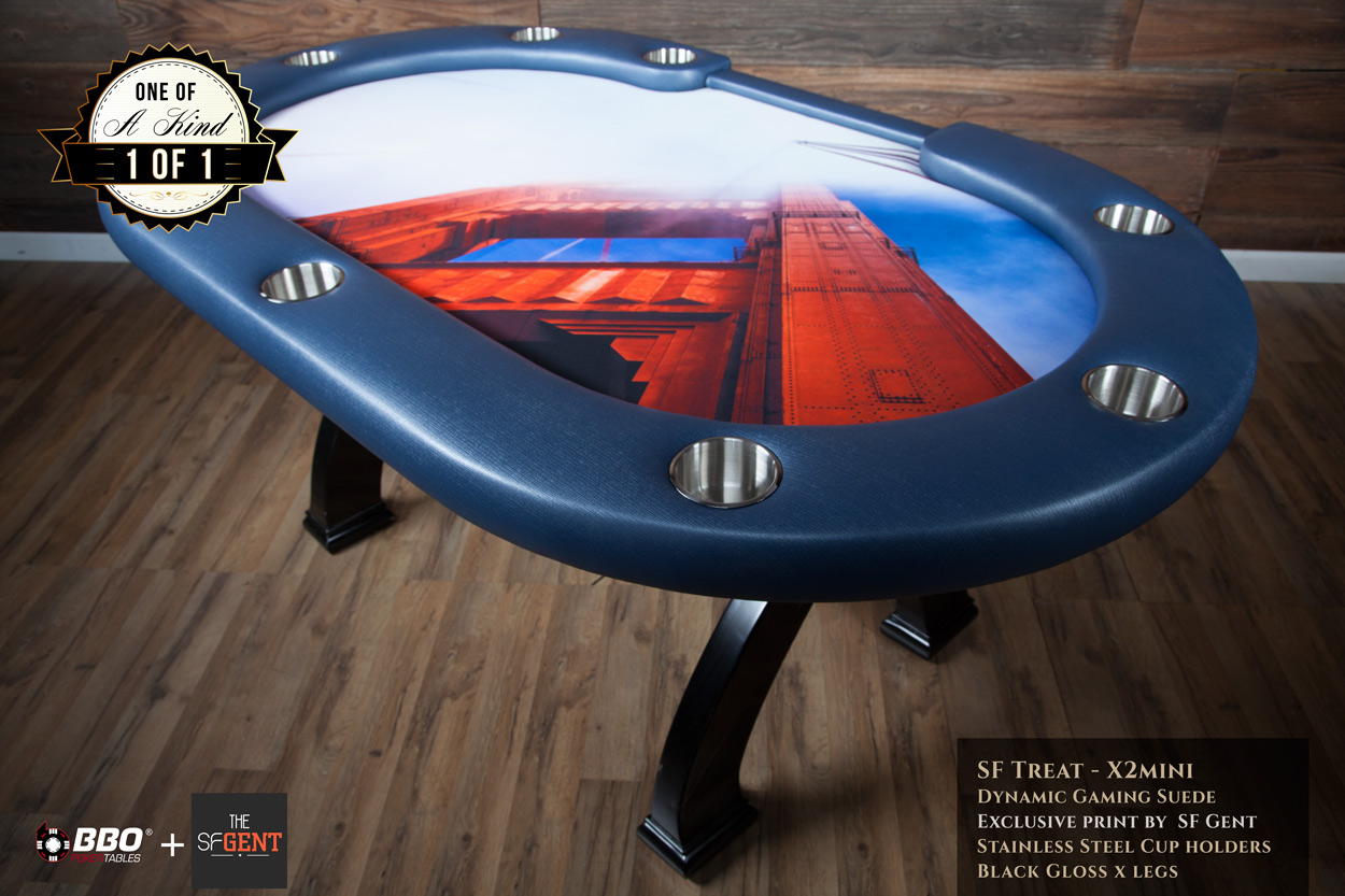 "BBO + The SF Gent ""The San Francisco Treat"" iShowroom Custom X2 Mini Poker Game Table"