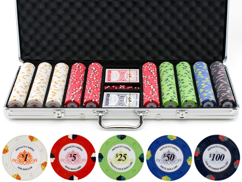 13.5g 500pc Monaco Casino Clay Poker Chips Set