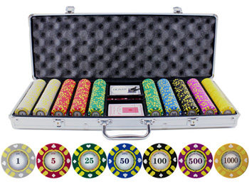 13.5g 500pc Stripe Suited V2 Clay Poker Chips Set