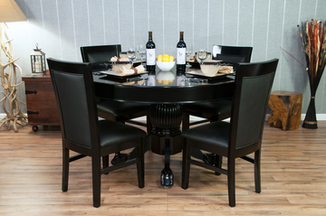 Classic Poker Table Chairs - Black Gloss